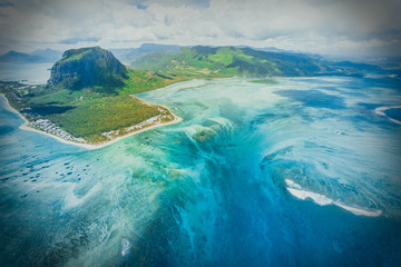 Aerial view of Le Morne Brabant mountain
