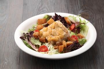 Salad served on plate