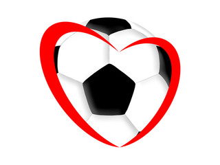 Symbol of the heart and football on the white background