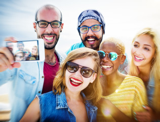 Friendship Selfie Happiness Beach Summer Concept