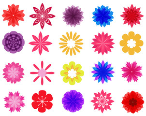 beautiful colorful flowers vector collection in silhouette isolated on white background for design