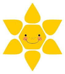 Smiling sun. Isolated
