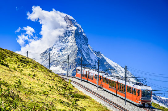 Gornergrat train and Matterhorn. Switzerland