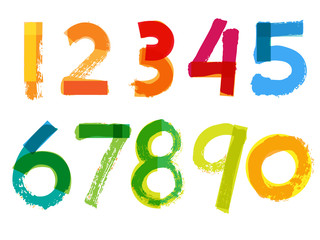 Handwritten Numbers on White Background - Vector Illustration