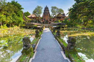 Pura Saraswati Temple with beatiful lotus pond, Ubud, Bali, Indonesia