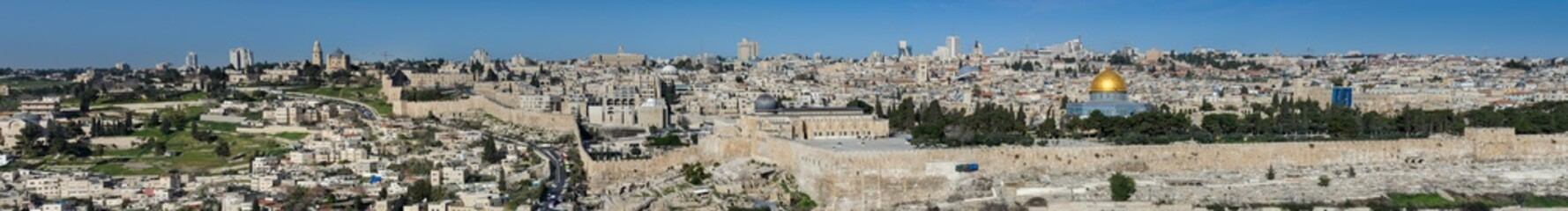 Very large panoramic view of Jerusalem