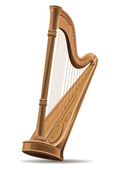 Realistic image of the harp isolated on white background. Concert harp. National Irish string musical instrument. Harp icon sign. Editable vector illustration