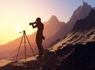 Photographer in the mountains.
