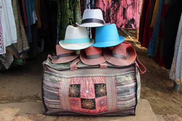 Cloth bag and hat in a shop in South India