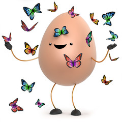 3d Cute toy egg surrounded by beautiful butterflies