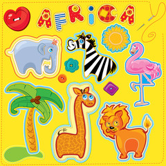 Set of buttons, cartoon animals and word AFRICA - hand made cuto