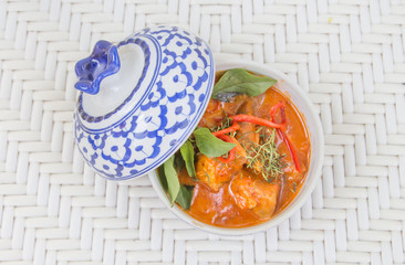 Thai red curry in the beautiful bowl