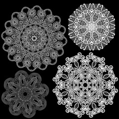 Set of Abstract circle lace patterns.