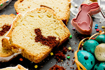 Easter bunny cake and colorful eggs