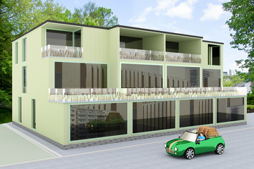 Mixed multifamily office building, 3d illustration