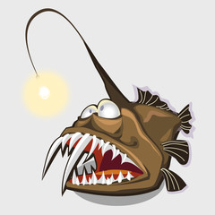 Toothy fish lamp, character or icon for design