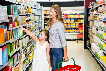 Mother and daughter doing grocery shopping
