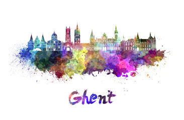 Ghent skyline in watercolor