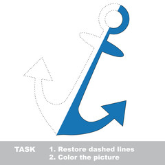 Anchor to be colored. Vector trace game.