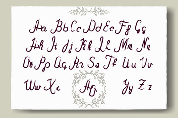 Hand drawn alphabet written with brush pen. Full version