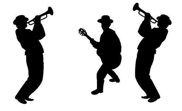 Trio Trumpeter player and guitar player, black silhouette isolated on white background. Digital illustration.