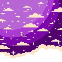 The night sky in cartoon style