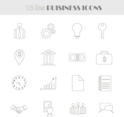 Linear business icons. Thin black lines on white background, illustration, vector