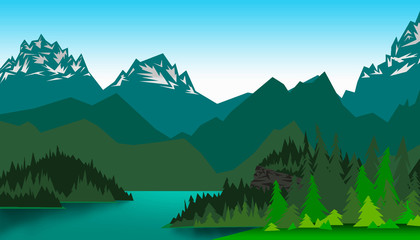 Picture vector mountain valley