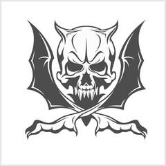 Demon Skull on white