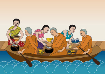 Thai traditional Illustration give alms to a Buddhist monk