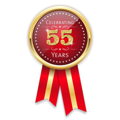 Red celebrating 55 years badge, rosette with gold border and ribbon