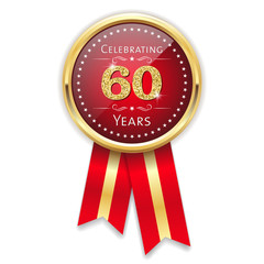Red celebrating 60 years badge, rosette with gold border and ribbon