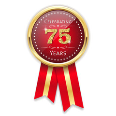 Red celebrating 75 years badge, rosette with gold border and ribbon