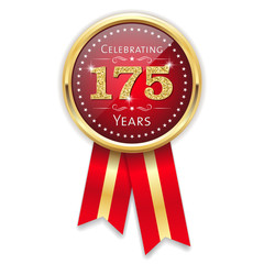 Red celebrating 175 years badge, rosette with gold border and ribbon