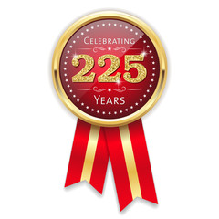 Red celebrating 225 years badge, rosette with gold border and ribbon