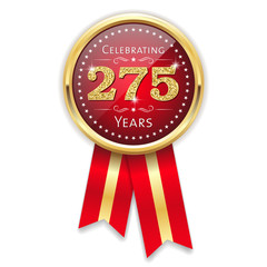 Red celebrating 275 years badge, rosette with gold border and ribbon