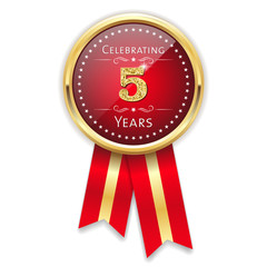 Red celebrating 5 years badge, rosette with gold border and ribbon