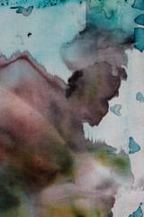 Deurstickers Aquarel Gezicht Abstraction, hot batik, background texture, handmade on silk, abstract surrealism art