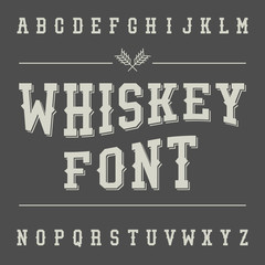 Vintage Whiskey Font. Alcohol Drink Label Design. Slab Serif Ret