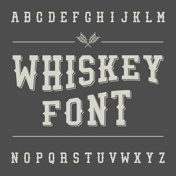 Vintage Whiskey Font. Alcohol Drink Label Design. Slab Serif Ret