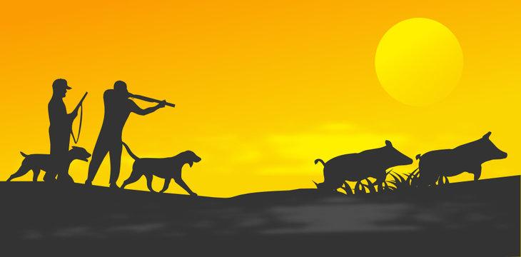 chasse et chasseurs de sangliers bannière