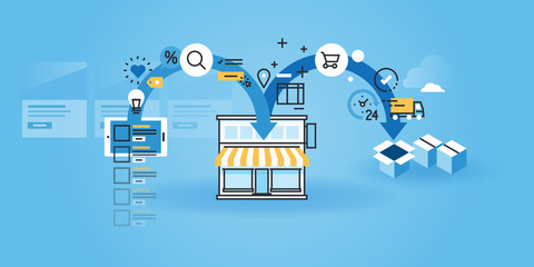 Flat line design website banner of online shopping. Modern vector illustration for web design, marketing and print material.