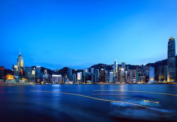 Hong Kong Victoria harbor sunset