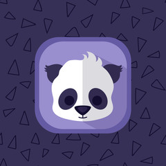 Little cute baby panda bear flat icon. Forest japanese animal with simple seamless triangle violet pattern at the background. Perfect for app design, motion graphics and as a design element