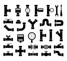 black plumbing pipes set