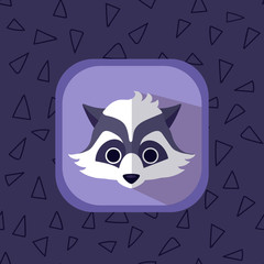 Little cute baby raccoon flat icon. Forest animal with simple seamless triangle violet pattern at the background. Perfect for app design, motion graphics and as a design element