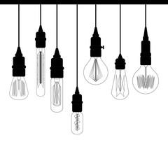 Set of Edison loft lights. Retro lamp for design catalog. / Set of Edison retro loft lights. Retro lamp for design
