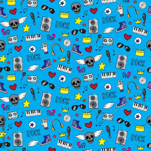 Seamless pattern with rock and emo music teen elements
