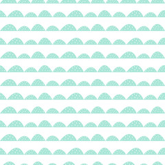 Scandinavian seamless mint pattern in hand drawn style. Stylized hill rows. Wave simple pattern for fabric, textile and baby linen.
