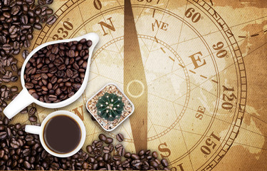 Coffee ean on map old fabric texture background